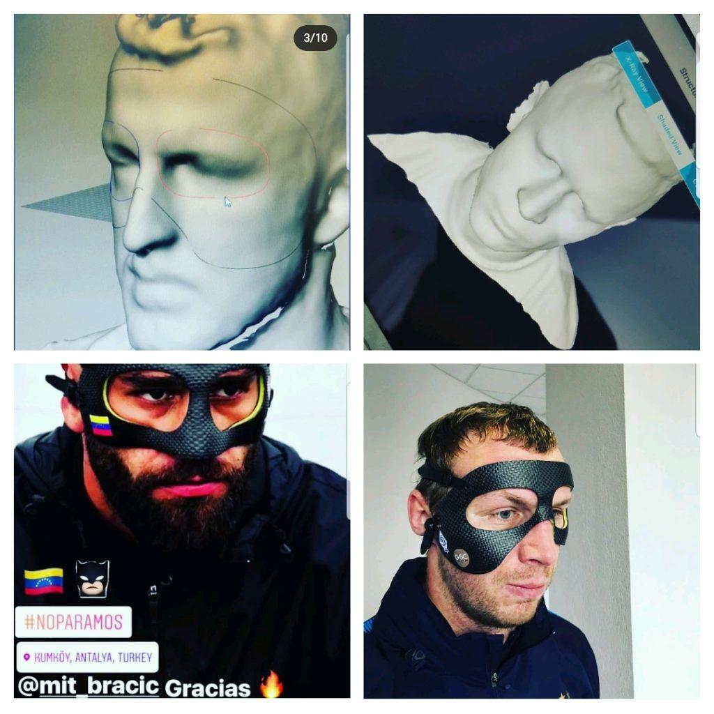 Obrazne maske za šport 3D, v primeru zloma ličnice ali nosa.